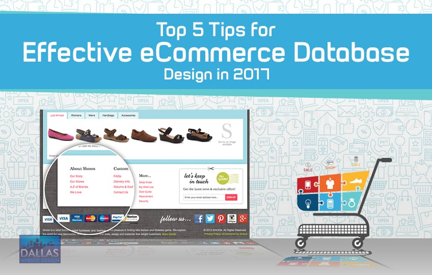"""An image of the blog title """"Top 5 Tips for Effective eCommerce Database Design in 2017"""" with a blue banner on top that has the title on it and a shopping cart and a screenshot of an eCommerce website below"""